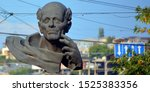 Small photo of YEREVAN ARMENIA 09 10 19: Andrei Sakharov statue in Yerevan, Sakharov was a nuclear physicist and the most famous Soviet dissident