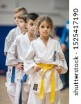 Small photo of BELGRADE, SERBIA - 28. SEPTEMBER 2019. Cute little girl in kimono on Martial Arts Sport Demonstration. Evening of Martial Arts / Kyokushin Belgrade Trophy at Sport Center RADIVOJE KORAC