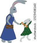 Stock vector bunny mother and daughter cute illustration baby hare in green dress hare in blue fashion dress 1525438160