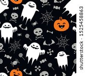 halloween pattern with ghosts...   Shutterstock .eps vector #1525458863
