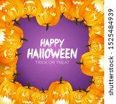 happy halloween pumpkin... | Shutterstock .eps vector #1525484939