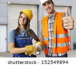 happy worker and business man... | Shutterstock . vector #152549894