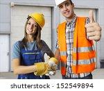 happy worker and business man...   Shutterstock . vector #152549894