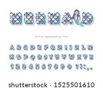 mermaid tail scale font. glossy ... | Shutterstock .eps vector #1525501610