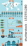 Process of Oil Production and Petroleum Refining - vector infographic