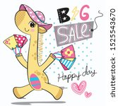 cute giraffe running with... | Shutterstock .eps vector #1525543670