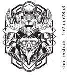 samurai skull robot black and... | Shutterstock .eps vector #1525552853
