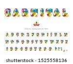 carnival 3d glossy font.... | Shutterstock .eps vector #1525558136