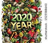2020 hand drawn doodles... | Shutterstock .eps vector #1525588643