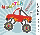monster truck red car cartoon... | Shutterstock .eps vector #1525590476