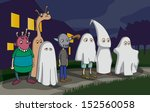 Group of kids wearing different costumes, celebrating Halloween in the streets. Cartoon.