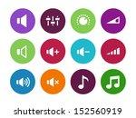 speaker circle icons on white...