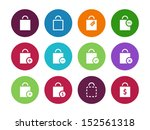 shopping bag circle icons on...