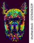 alpaca   llama portrait.... | Shutterstock .eps vector #1525636229