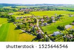 Aerial view of village in...