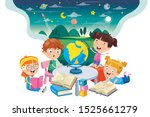 little school children studying ... | Shutterstock .eps vector #1525661279