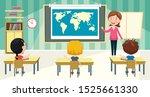 little school children studying ... | Shutterstock .eps vector #1525661330
