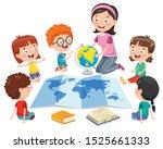 little school children studying ... | Shutterstock .eps vector #1525661333