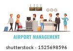 airport staff and passengers at ... | Shutterstock .eps vector #1525698596