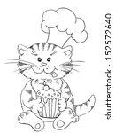 Stock vector cartoon cat chef with cupcake 152572640