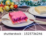 Stock photo dressed herring or herring under a fur coat symbol of the new year traditional russian cuisine 1525736246
