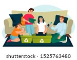 parents with two kids having... | Shutterstock .eps vector #1525763480