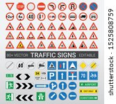 traffic signs vector editable...   Shutterstock .eps vector #1525808759