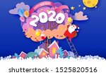 funny winter village with big...   Shutterstock .eps vector #1525820516