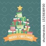 pile of gift boxes lights star... | Shutterstock .eps vector #1525838930