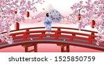 japan scenery  woman in kimono...   Shutterstock .eps vector #1525850759