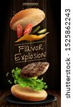 delicious hamburger ads with... | Shutterstock . vector #1525862243