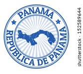 Grunge rubber stamp with the name and map of Panama, vector illustration