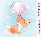 cute little foxy flying with... | Shutterstock .eps vector #1525911113