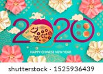 2020 chinese new year card... | Shutterstock .eps vector #1525936439