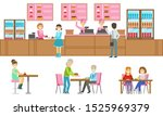 people choosing and buying...   Shutterstock .eps vector #1525969379