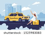 person catching taxi on the...   Shutterstock . vector #1525983083
