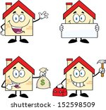 house cartoon mascot characters....   Shutterstock . vector #152598509