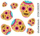pattern of mexican skull... | Shutterstock .eps vector #1526130329