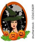 girl in the hat for halloween...   Shutterstock .eps vector #152615609