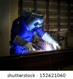 worker with protective mask... | Shutterstock . vector #152621060