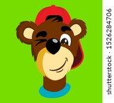 cartoon bear in baseball cap... | Shutterstock .eps vector #1526284706