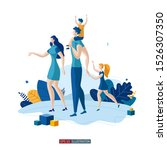 trendy flat illustration. happy ... | Shutterstock .eps vector #1526307350