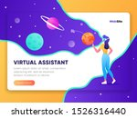 young woman with vr headset in...   Shutterstock .eps vector #1526316440