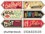 collection of holiday christmas ... | Shutterstock .eps vector #1526323133