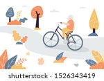 old woman ride bicycle outdoor... | Shutterstock .eps vector #1526343419