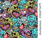 Cartoon Zombie Head Seamless...