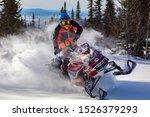 In Deep Snowdrift Snowmobile...