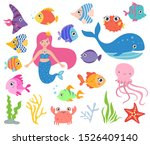 isolated vector set   a mermaid ... | Shutterstock .eps vector #1526409140
