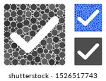 Stock vector valid tick mosaic for valid tick icon of small circles in different sizes and color tones vector 1526517743