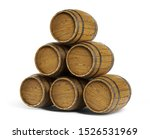 Wooden Barrels Stacked On White ...